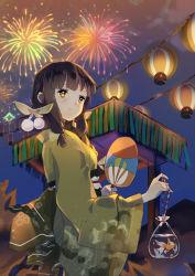 1girl black_hair fan fireworks fish goldfish japanese_clothes kantai_collection kimono kitakami_(kantai_collection) lantern long_hair night night_sky paper_fan payot sheska_xue sky solo yellow_eyes yukata