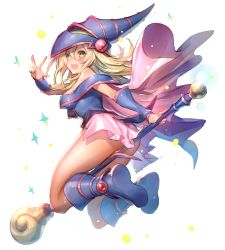 1girl ass bare_shoulders blonde_hair blue_boots blush blush_stickers boots breasts choker cleavage dark_magician_girl duel_monster green_eyes hat large_breasts long_hair one_eye_closed open_mouth oro_(sumakaita) pentacle smile solo staff wizard_hat yu-gi-oh! yuu-gi-ou_duel_monsters