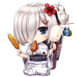 1girl alternate_costume blue_eyes breasts commentary_request corn cotton_candy floral_print flower food fox_mask hair_flower hair_ornament hair_over_one_eye hairclip hamakaze_(kantai_collection) ikayaki japanese_clothes kantai_collection kimono looking_at_viewer mask mouth_hold obi sash seiza short_hair silver_hair simple_background sitting solo squid suien white_background yakitoumorokoshi yukata