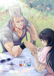 1boy 1girl black_hair brother_and_sister cherie_polnareff earrings grey_hair jean_pierre_polnareff jewelry jojo_no_kimyou_na_bouken nail_polish painting_nails siblings toujou_shufu