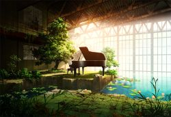 1boy instrument lily_pad original piano pond ruins scenery solo technoheart tree window