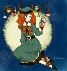 1girl antlers belt boots bow christmas christmas_ornaments dress fur_trim green_dress green_eyes hat holly l_hakase long_hair merry_christmas original red_hair ribbon sitting solo yokozuwari