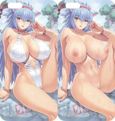 blue_hair breasts cameltoe capcom cat_ears erect_nipples highleg highleg_leotard large_breasts leg_up legs leotard long_legs mogudan monster_hunter nail_polish nipples sitting thick_thighs thighs thong_leotard