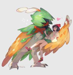 1girl beak beanie bird decidueye female_protagonist_(pokemon_sm) hat heart namie-kun owl pokemon pokemon_(creature) pokemon_(game) pokemon_sm shirt short_shorts shorts tied_shirt wings