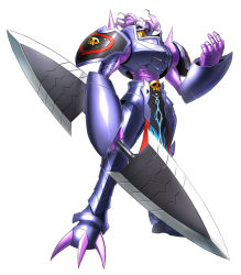 armor claiomh_solais_(digimon) craniamon digimon digimon_story:_cyber_sleuth dot_pupils full_armor gauntlets loincloth monster no_humans official_art polearm purple_hair red_eyes royal_knights shoulder_pads shoulder_spikes simple_background skull solo spear spikes weapon white_background yasuda_suzuhito