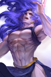 1boy blue_hair earrings fangs highres horns jewelry jojo_no_kimyou_na_bouken kars_(jojo) long_hair male manly muscle purple_hair shirtless solo ultramarine very_long_hair