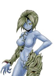 1girl alexia_ashford blue_skin breasts curvy erect_nipples female highres monster_girl resident_evil resident_evil_code_veronica sweat
