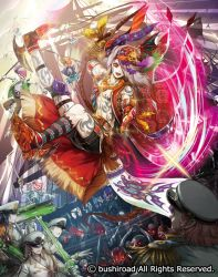 1boy abs bandanna braid cape cardfight!!_vanguard company_name epaulettes faceless faceless_male flower full_body glowing glowing_eyes grey_hair gun hair_over_one_eye hat jewelry long_hair male_focus moreshan necklace official_art open_mouth polearm red_eyes seven_seas_sailor_nightalert ship shirtless skeleton solo sparkle spear sword tattoo watercraft weapon white_skin