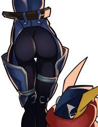 1girl ass greninja pokemon scabbard sheath sheik simple_background splashbrush super_smash_bros. the_legend_of_zelda thigh_gap white_background
