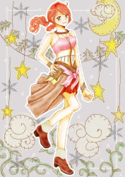 1girl boots breasts final_fantasy final_fantasy_xiii oerba_dia_vanille orange_hair solo twintails