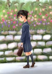 1girl azel_bikushioma blush female flower looking_at_viewer open_mouth original outdoors school_uniform shiny shiny_hair solo uniform