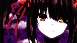 1girl animated animated_gif black_hair crazy_smile date_a_live heterochromia smile solo tokisaki_kurumi tongue twintails yellow_eyes