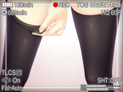 adjusting_clothes adjusting_legwear black_legwear close-up gradient gradient_background highres ochinsama original pink_background thighhighs viewfinder
