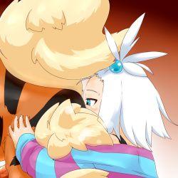 1girl alacarte anilingus arcanine bestiality blush gym_leader hair_bobbles hair_ornament homika_(pokemon) loli nintendo penis pokemon pokemon_(game) pokemon_bw2 shiny shiny_skin short_hair sweat tail white_hair