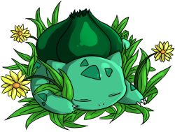 bulbasaur eyes_closed flower jessica_chen_pei_ling no_humans pokemon simple_background sleeping solo white_background