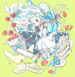 1girl apple apple_pie apron basket bloody_marie_(skullgirls) blue_fire bone chopping commentary_request cooking dress fire food fruit hair_ornament holding kneeling knife looking_at_viewer maid maid_headdress notoro peeling red_eyes rolling_pin silver_hair skull skull_hair_ornament skullgirls solo twintails yellow_background