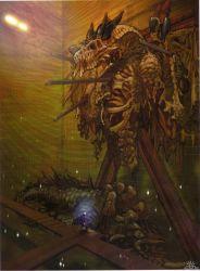 1boy backbone breath_of_fire breath_of_fire_v bridge corpse crucifixion dragon highres light ponytail ribs ryuu_(breath_of_fire_v) shining skeleton spine tail