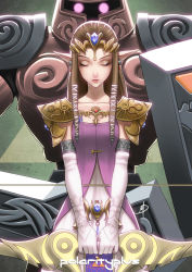 1girl armor bow_(weapon) braid brown_hair daniel_macgregor dress eyes_closed glowing glowing_eyes jewelry lots_of_jewelry pointy_ears princess_zelda shield spirit_tracks super_smash_bros. the_legend_of_zelda tiara twilight_princess weapon