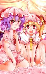 2girls :d barefoot blonde_hair cravat curtains flandre_scarlet hand_on_own_chest hat hat_ribbon highres knees_up looking_at_viewer mob_cap multiple_girls open_mouth purple_hair red_eyes remilia_scarlet ribbon samayoi short_hair short_sleeves siblings side_ponytail sisters sitting skirt skirt_set smile touhou wariza wings