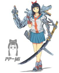 1girl :3 black_hair bow hair_bow long_hair looking_at_viewer middle_finger pipimi pleated_skirt poptepipic prosthesis prosthetic_arm school_uniform serafuku shirt simple_background skirt smile solo sword t-shirt weapon yozhman