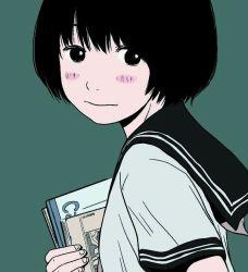 1girl black_eyes black_hair blush green_background holding_book hosoo notebook school_uniform simple_background solo
