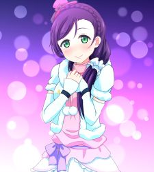 1girl blush braid commentary_request denshinbashira_(bashirajio!) dress elbow_gloves french_braid gloves green_eyes hair_over_shoulder hat highres long_hair looking_at_viewer love_live! love_live!_school_idol_project mini_hat purple_hair scrunchie smile snow_halation solo toujou_nozomi upper_body white_dress white_gloves