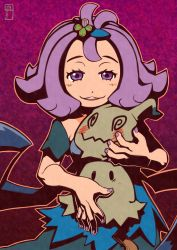 1girl :3 acerola_(pokemon) bare_arms blush chawalit_adsawawalanon costume dress elite_four fingernails flipped_hair gradient gradient_background hair_ornament highres looking_at_viewer mimikyu nail_polish open_mouth outline pikachu_costume pokemon pokemon_(creature) pokemon_(game) pokemon_sm purple_eyes purple_hair purple_nails short_hair short_sleeves smile teeth topknot torn_clothes torn_dress torn_sleeves trial_captain
