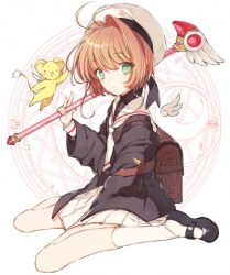 1girl antenna_hair brown_hair card_captor_sakura fuuin_no_tsue green_eyes kero kinomoto_sakura looking_at_viewer neckerchief school_uniform serafuku short_hair skirt smile solo wand wings yasiromann