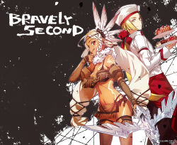 :q amy_matchlock angelo_panettone apron bare_shoulders bikini blonde_hair bravely_default:_flying_fairy bravely_second breasts bunbun cleavage dark_skin elbow_gloves gloves navel pastry red_eyes swimsuit tattoo thighhighs tongue tongue_out white_hair yellow_eyes