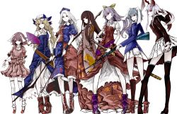 6+girls absurdres albino animal_ears arm_at_side arrow bangs belt black_hair black_jacket black_legwear blazer blonde_hair blouse blue_bow blue_dress blue_hair blue_jacket blunt_bangs boots bow bow_(weapon) breasts brown_eyes bunny_ears bunny_tail closed_mouth collared_shirt constellation dress fan fighting_stance floating_hair floppy_ears folding_fan forest frilled_sleeves frills frown gun hair_between_eyes hair_bow hat hat_bow hat_ribbon high_heel_boots high_heels highres holding holding_fan holding_gun holding_weapon houraisan_kaguya inaba_tewi jacket japanese_clothes katana kimono kneehighs legs_apart long_hair long_skirt long_sleeves looking_to_the_side miniskirt mob_cap multiple_girls nature nurse_cap pale_skin pigeon-toed pleated_skirt profile puffy_short_sleeves puffy_sleeves purple_boots purple_hair red_boots red_dress red_eyes red_ribbon red_shoes red_skirt reisen reisen_udongein_inaba ribbon ribbon-trimmed_skirt shirt shoes short_sleeves skirt skirt_set sleeves_past_wrists small_breasts socks sword tail thighhighs touhou watatsuki_no_toyohime watatsuki_no_yorihime wavy_hair weapon white_background white_hair white_hat white_legwear white_skin white_skirt wide_sleeves wristband yagokoro_eirin yellow_bow yellow_eyes yutapon