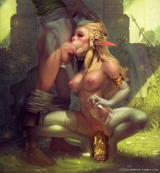 1boy 1girl areolae blonde_hair blue_eyes boots bottle braid breasts calm_(artist) caressing_testicles clothed_male_nude_female deepthroat dildo elbow_gloves eyeshadow fellatio french_braid gloves hair_tubes hands_on_head head_out_of_frame hetero highres jar large_breasts link lips long_hair makeup nipples nose nude object_insertion oral pants_pull payot penis penis_milking pointy_ears princess_zelda realistic solo_focus squatting testicles the_legend_of_zelda thighhighs tongue uncensored vaginal vaginal_insertion watermark web_address