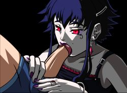 1boy 1girl animated animated_gif earring edit fellatio glans_licking licking nail_polish oral pov red_eyes ring simple_background solo_focus tongue umeko vampire zone