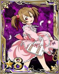 1girl brown_hair card_(medium) dress hair_between_eyes hair_ornament hair_ribbon lolita_fashion long_hair looking_at_viewer neck_ribbon open_mouth pink_dress red_eyes red_ribbon ribbon short_twintails silica solo sword_art_online twintails white_feathers white_ribbon