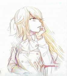 blonde_hair bow chaban_capriccio_(vocaloid) evillious_nendaiki graphite_(medium) hair_bow hand_on_own_cheek hand_on_own_chin kagamine_rin looking_away mixed_media profile rooomi short_hair short_ponytail sketch traditional_media vocaloid