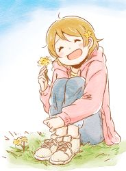 1girl ^_^ ahoge brown_hair dandelion denim eyes_closed facing_viewer flower hair_flower hair_ornament holding holding_flower hood hood_down hooded_jacket jacket jeans koizumi_hanayo leg_hug long_sleeves love_live! love_live!_school_idol_project on_grass on_ground open_mouth pants pants_rolled_up pink_jacket sakutarou_(saku_suguitar) shoes short_hair sitting sitting_on_ground smile sneakers solo white_shoes
