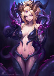 :d alternate_costume alternate_hair_color armor bangs_pinned_back bare_shoulders blonde_hair breastplate breasts cleavage collarbone dragon dragon_horns eyelashes fang forehead_jewel highres horns large_breasts league_of_legends lips navel oopartz_yang open_mouth patreon_username pink_lips ponytail purple_eyes slit_pupils smile stomach thigh_gap watermark zyra