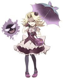 >:d 1girl :d ^_^ armpits bag bare_arms black_eyes black_legwear blonde_hair collarbone commentary_request eyes_closed fangs frills full_body gastly gloves hair_intakes hair_ornament hand_up handbag highres holding holding_umbrella kikuko_(pokemon) looking_at_viewer mary_janes open_mouth pantyhose pokemon pokemon_(game) pokemon_rgby purple_gloves purple_shoes shoes short_hair simple_background sleeveless smile standing umbrella white_background yarumi_(suina) younger