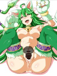 1boy 1girl ahoge animal_ears anus ass bell bell_choker bell_earrings breasts cait_sith_(mythology) cat_ears cat_paws censored choker clitoris cum cum_in_pussy dragon_poker earrings fur green_eyes green_hair green_legwear heart heart-shaped_pupils hetero highres jewelry large_breasts long_hair looking_at_viewer monchan_rev3 multiple_tails nipples nude open_mouth paws pointless_censoring pov pussy sex solo_focus symbol-shaped_pupils tail thigh_strap tongue tongue_out vaginal