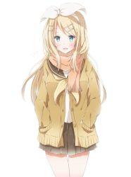 1girl :d blonde_hair blue_eyes hair_ornament hairband hairclip hiro_(hirohiro31) kagamine_rin long_hair looking_at_viewer open_mouth pleated_skirt scarf school_uniform serafuku skirt smile solo sweater vocaloid