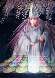 blurry character_request dated flower glowing hat holding long_hair plant purple_hair purple_hat puzzle_&_dragons robe signature yumeyu_(kirby2005)
