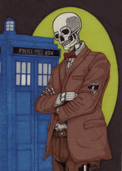 1boy canvas dead doctor_who eleventh_doctor skeleton skull star sun tardis undead