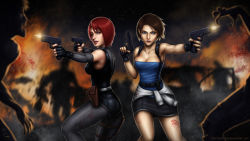 2girls absurdres black_gloves black_skirt blood blood_on_face blue_eyes breasts brown_hair cleavage clothes_around_waist crossover detached_sleeves dino_crisis dual_wielding finger_on_trigger fingerless_gloves firing glock gloves gun handgun highres holster jill_valentine medium_breasts multiple_girls pink_lips pistol red_eyes red_hair regina resident_evil resident_evil_3 sam_delatore signature skirt strapless sweater_around_waist toned tubetop weapon