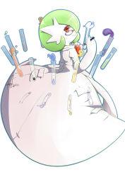 alternate_form bespectacled clipboard costume dress from_behind glasses green_hair looking_back mega_gardevoir mega_pokemon pen pokemon pokemon_(game) red_eyes scientist short_hair smile test_tube vial