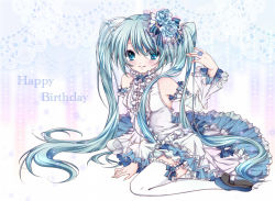 1girl aqua_hair blue_eyes detached_sleeves frills hair_ornament happy_birthday hatsune_miku koyoi_(ruka) long_hair looking_at_viewer sitting smile solo twintails vocaloid