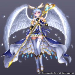 1girl airspace bare_shoulders blue_hair boots company_name feathered_wings full_body grey_background gyakushuu_no_fantasica official_art pink_eyes solo staff thighhighs tiara wings
