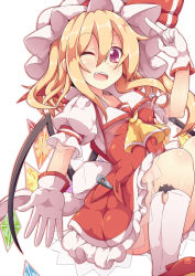 1girl ascot blonde_hair dress flandre_scarlet gloves hat hat_ribbon highres kan_lee looking_at_viewer mob_cap one_eye_closed open_mouth puffy_short_sleeves puffy_sleeves red_dress red_eyes ribbon shirt short_sleeves smile solo touhou white_gloves wings