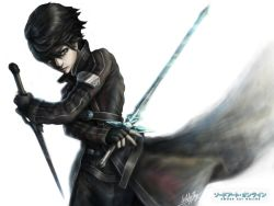 1boy black_eyes black_hair coat copyright_name cowboy_shot dual_wielding fingerless_gloves gloves kirito male penator reverse_grip short_hair signature simple_background solo sword sword_art_online weapon white_background