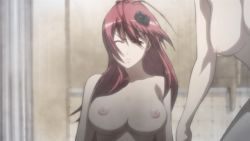 animated animated_gif bounce bouncing_breasts breasts hyakka_ryouran_samurai_girls large_breasts long_hair nude red_hair yagyuu_juubei_(hyakka_ryouran)