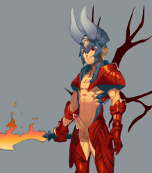 1boy armor blade blonde_hair cum cumdrip defense_of_the_ancients dota_2 erection fire gauntlets helmet horns looking_at_viewer lucifer_(dota_2) lvlv male_focus penis red_eyes shirtless simple_background solo spiked_hair sword tongue tongue_out weapon