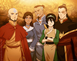 2girls 3boys aang avatar:_the_last_airbender bald black_hair blind blue_eyes brother_and_sister brown_hair cape chinese_clothes choker crossed_arms dark_skin facial_hair gingashi goatee grey_eyes hair_bun husband_and_wife katara legend_of_korra long_hair multiple_boys multiple_girls older one_eye_closed ponytail scar short_hair siblings sokka tattoo toph_bei_fong topknot yellow_eyes zuko